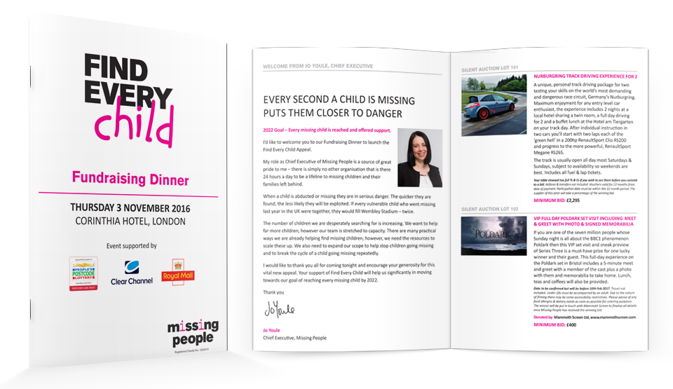 Missing People charity auction brochure design