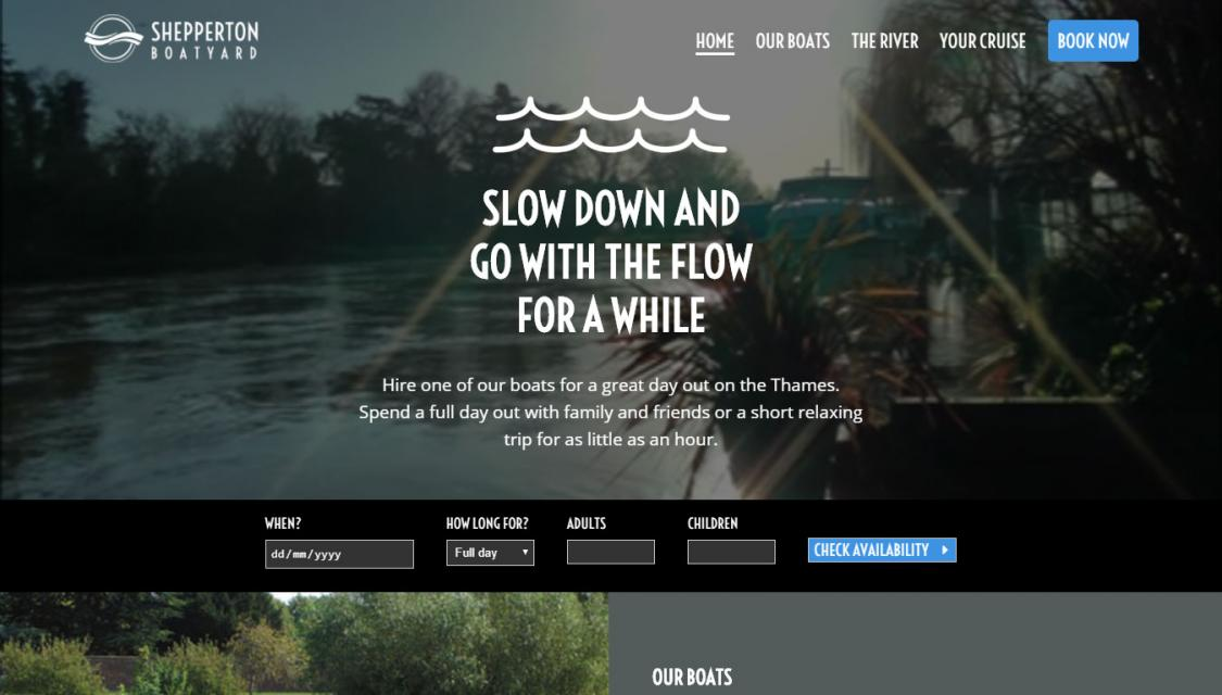 Boat hire website screenshot