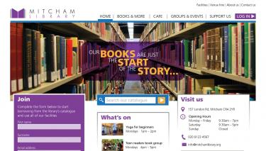 Library website screenshot