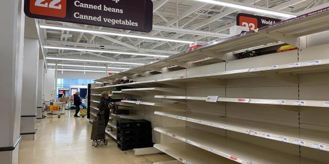 Empty shelves in Sainsburys supermarket