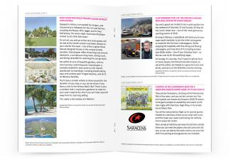 Charity auction brochure design, inner spread
