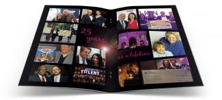 Charity auction brochure design photo spread